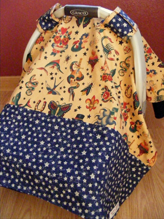 Infant Carrier - Car Seat Canopy in Rockabilly Tattoo