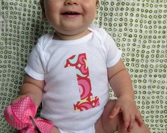1 Onesie - Birthday Bodysuit - Baby Girl One Year Old Onesie Pink Amy Butler Midwest Modern