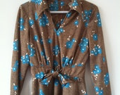 sale Vintage 60s 70s brown dress  with retro blue flowers