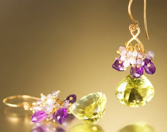 Green earrings. Amethyst drop earrings with lime quartz briolettes and pearls hanging from vermeil hooks - The Empress