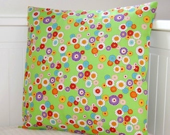cushion cover flowers green, decorative pillow cover 14 inch