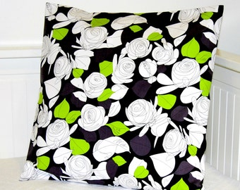 REDUCED TO CLEAR black and white roses decorative pillow cover, cushion cover 16 inch