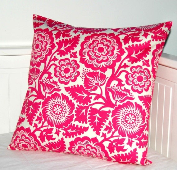 cerise pink flowers decorative pillow cover, cushion cover 16 inch