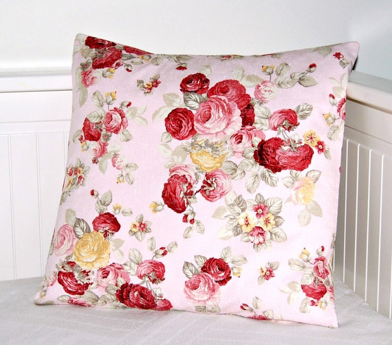 shabby pink vintage roses cushion cover, decorative pillow cover  16 inch