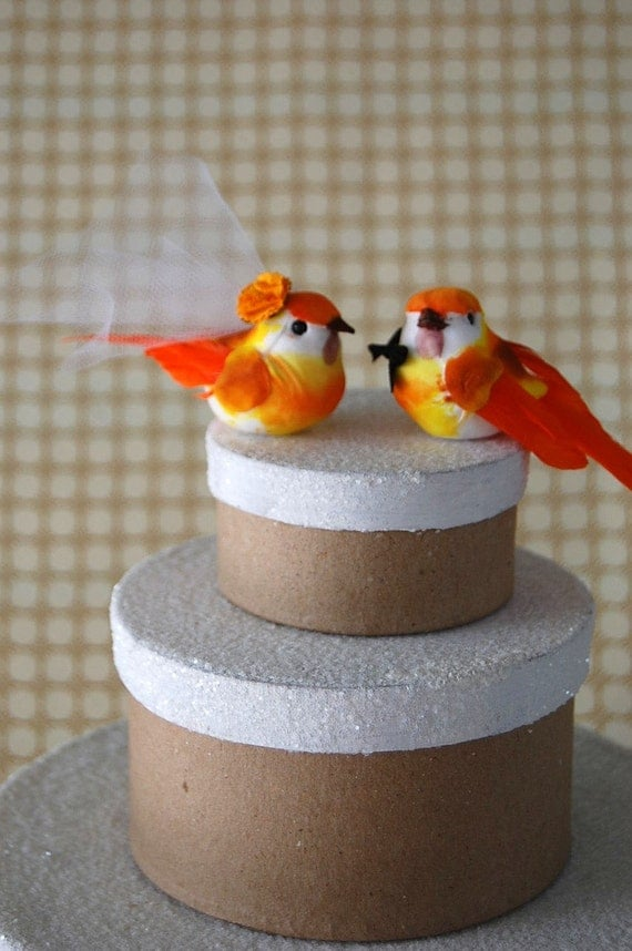 CLEARANCE SALE - Orange Love Bird Cake Topper: Bride and Groom Rustic Wedding Cake Topper - Anniversary / Holiday Decoration