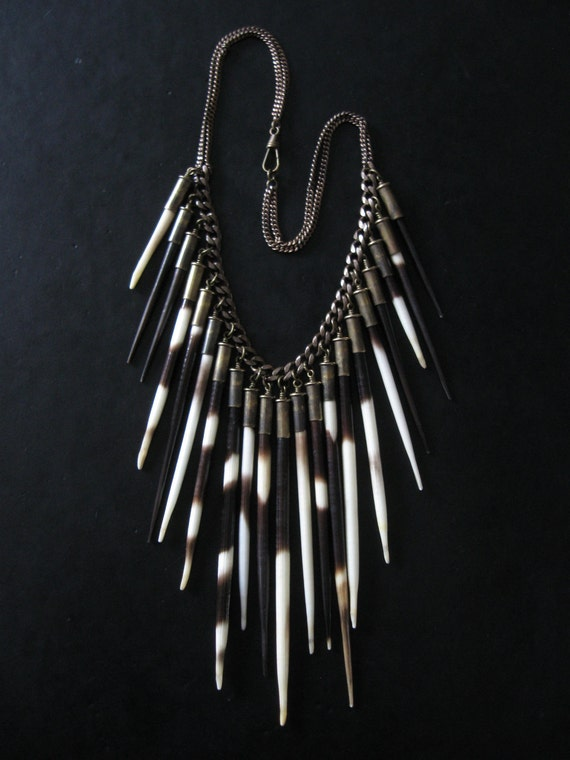 Porcupine Quill Statement Necklace - Hystricidae - Taxidermy Inspired Urban Tribal Bib
