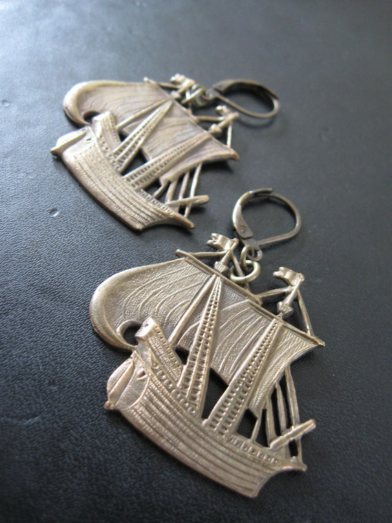 LAST PAIR - Pirate Ship Earrings Made with Vintage Brass Schooner Stampings