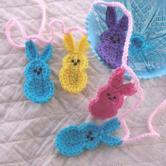 Crochet Bunny Garland Easter Bunny Marshmallow Peeps Garland