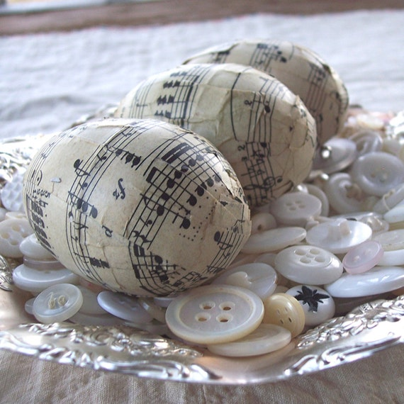 Decoupage Antique Music Eggs - Upcycled Plastic Eggs - Antique Sheet Music- Sepia Tone Antique Paper - Set of 3- Reclaimed Piano Sheet Music