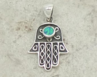 Hamsa or Hand of Fatima Opal Filigree Sterling Silver Charm -- Complimentary Ribbon or Cord