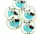 Owl buttons. Blue Owl handmade buttons. 6 Sewing Buttons.