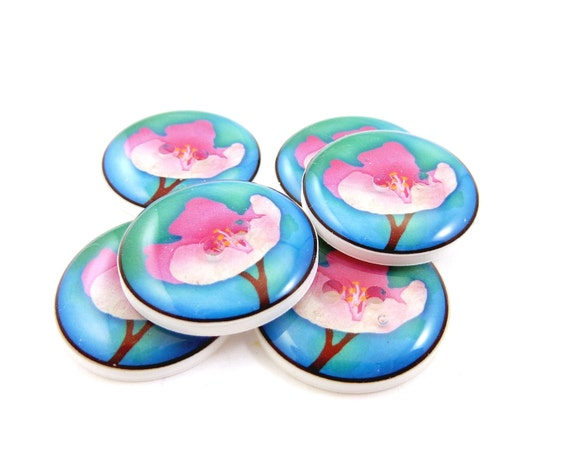 Cherry Blossom Buttons.  6 handmade Buttons.  Sewing Buttons.  Pink Cherry Blossom on Blue.