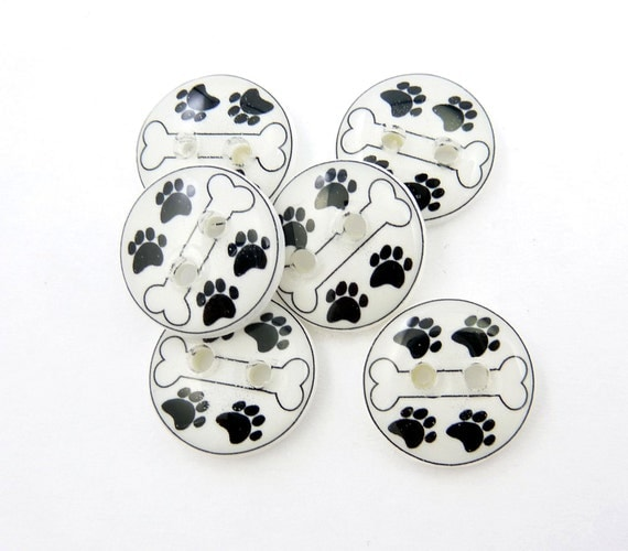 SMALL Dog Bone Buttons. Handmade Buttons.   6 Dog Bone and Paw Print  Buttons for Sewing.