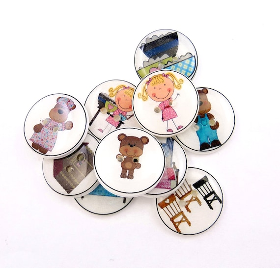 Goldilocks and the Three Bears  Buttons. 10 Handmade Buttons.  Sewing or Knitting Buttons.