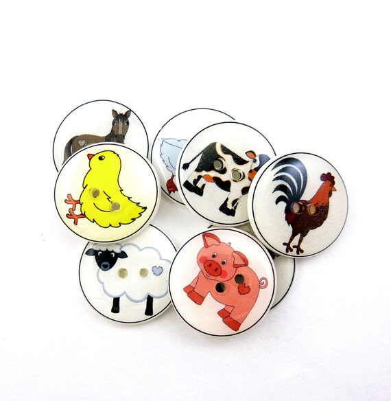Farm Animal Buttons.  Handmade Buttons. 8 sewing buttons for Boys.