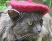 Cat Beret - Garnet Wool Felted Beret