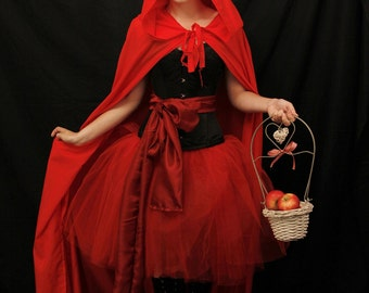 Red riding hood steel boned halloween corset costume outfit-whole corset outfit-made for buyer