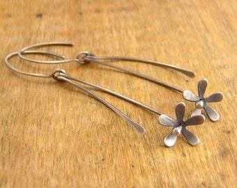 Sterling silver flower earrings, super lightweight long dangle earrings, ready to ship.