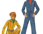 1970s Butterick 5066 Boys Jumpsuit Pattern Coveralls Childs Pre Teen Vintage Sewing Pattern Size 12 Chest 30 UNCUT