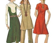Butterick 5991 1960s Half Size A Line Dress Tunic and Pants Pattern Womens Vintage Sewing Pattern Size 18 1/2 Bust 41