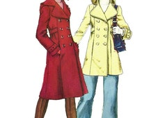 Simplicity 5986 1970s Junior Petite Double Breasted Hooded Coat Two Lengths Womens Vintage Sewing Pattern Size 7 Bust 32 UNCUT