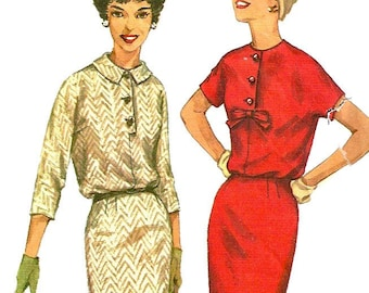 1950s  Simplicity 2620 Misses Slim Dress Pattern Bloused Bodice   Womens Vintage Sewing Pattern Size 12 Bust 32