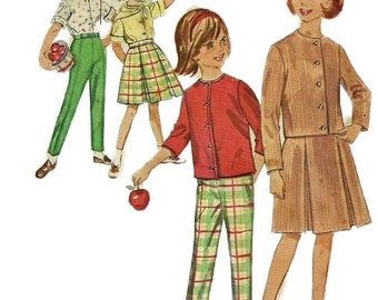 1960s Simplicity 4660 Girls Smartly Tailored Scarf Skirt Blouse and Pants Pattern Childs Vintage Sewing Pattern Size 7 Breast 25
