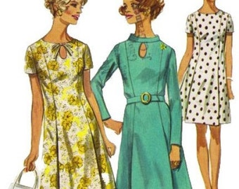 1960s Simplicity 8192 Mises Slimming Peekaboo Princess Seam Dress Pattern Womens Vintage Sewing Pattern Size 16 Bust 38