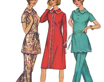 Simplicity 9631 1970s Dress Tunic and Pants Pattern Scallop Details  Womens Half Size Vintage Sewing Pattern Size 14 1/2 Bust 37