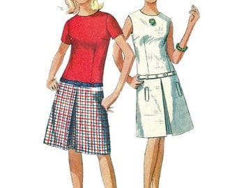 Simplicity 6455 1960s Misses Teen A Line Dress and Belt Pattern Inverted Pleat Womens Vintage Sewing Pattern Size 12 Bust 32