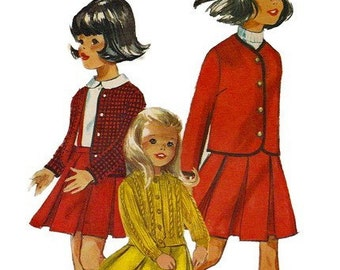 Simplicity 6153 1960s Girls Skirt Jacket and Cable Cardigan Knitted Sweater Pattern Childs Vintage Sewing Pattern Size 8 Breast 26 UNCUT