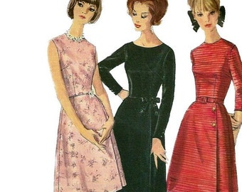 Simplicity 5702  1960s Misses Elegant A Line Dress Pattern Womens Vintage Sewing Pattern Size 14 Bust 34
