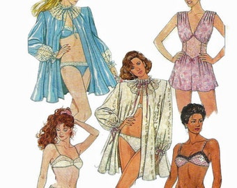 Simplicity 8975 1980s Misses Lingerie Robe Midriff Teddy  Bras and Panties Pattern Womens Vintage Sewing Size 12 Bust 34, 10, 16 or 8 UNCUT
