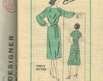 Mail Order M320 Prominent Designer Carillon Misses DRESS Pattern Portrait Neck  Womens Vintage Sewing Pattern Size 8 Bust 31 UNCUT