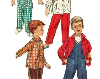 Simplicity 1786 1950s Toddlers V Neck Overalls and Shirt Pattern Boys and Girls Vintage Sewing Pattern Size 1 Chest  20