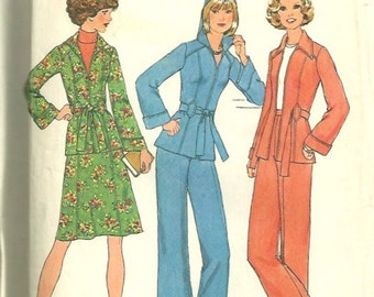 Simplicity 7094 1970s Misses Zip Front Princess Seam Hooded Jacket Skirt and Pants Pattern Womens Vintage Sewing Pattern  Size 10 Bust 32