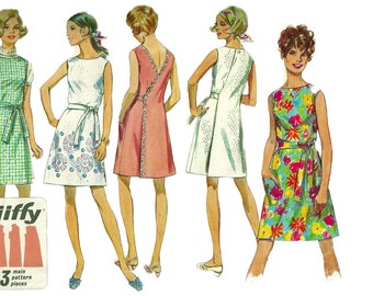 Simplicity 8239 1960s Misses Jiffy Back Wrap Dress Pattern Womens Vintage Sewing Pattern Size 12 Bust 34