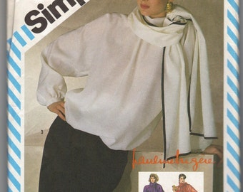 1980s Simpicity 6152 Misses Evening Blouse and Skirt Pattern 2 Piece Dress Pauline Trigere Womens Vintage Sewing Pattern Size 10 Bust 32