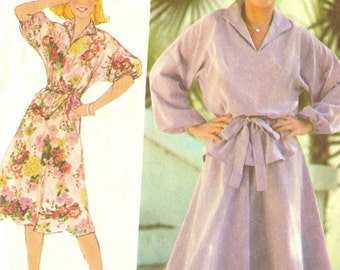 1970s Simplicity 8513 Misses Pullover Dress and Top Skirt Pattern Womens Vintage Sewing Pattern Size Small Bust 32 - 34