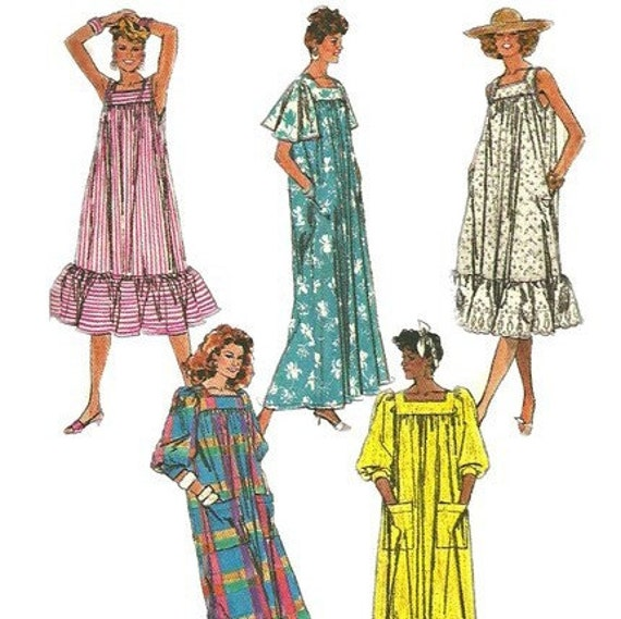 1980s Simplicity 8066 Easy to Sew Loose Fit Misses Dress Pattern Womens Vintage Sewing Pattern Size Large Bust 40 - 42