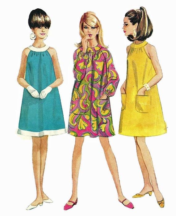 Mccalls 8706 1960 Misses Mod A Line Halter Tent Dress Pattern