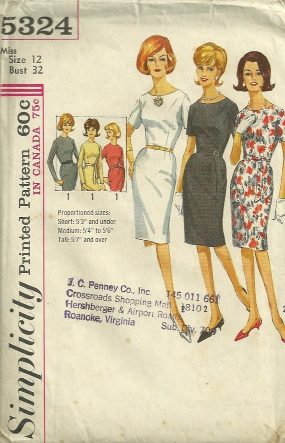 Simplicity 5324 1960s Misses Jewel Neck Sheath Dress Pattern Proportioned Womens Vintage Sewing Pattern Size 12 Bust 32