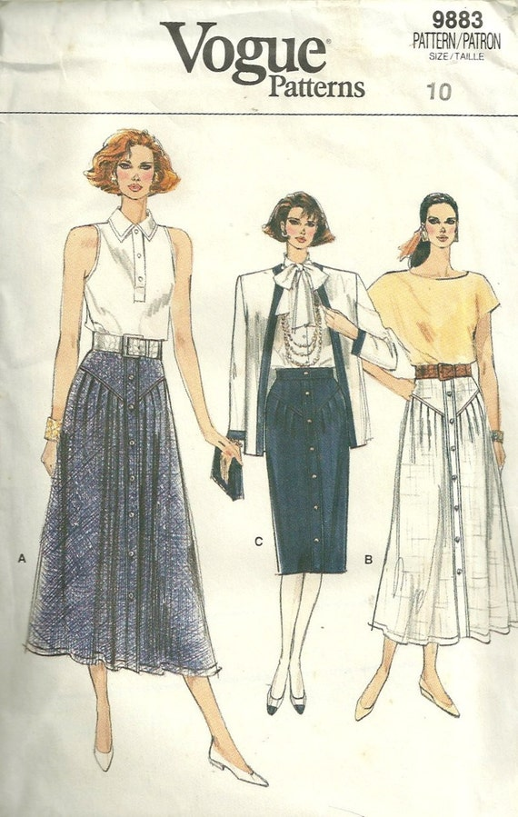 Vogue 9883 1980s  Misses Skirt Pattern Yoked Flared or Pencil  Skirt Pattern Womens Vintage Sewing Pattern Size 10 Waist 25 Uncut