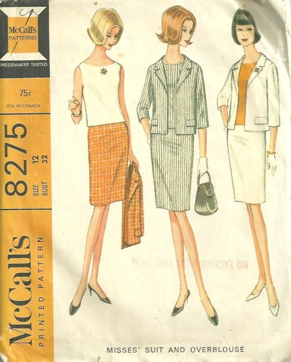 McCalls 8275  1960s Misses Skirt, Jacket and  Overblouse Pattern Womens Vintage Sewing Pattern Size 12 Bust 32