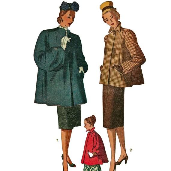 Simplicity 1716 1940s misses swing coat pattern womens vintage sewing