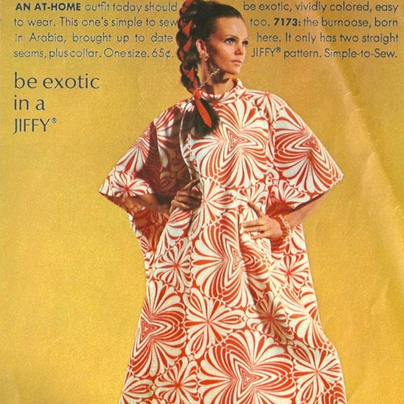 """Be exotic in a JIFFY."" Marola Witt models Simplicity 7173 in Simplicity Fashion News, July 1967"