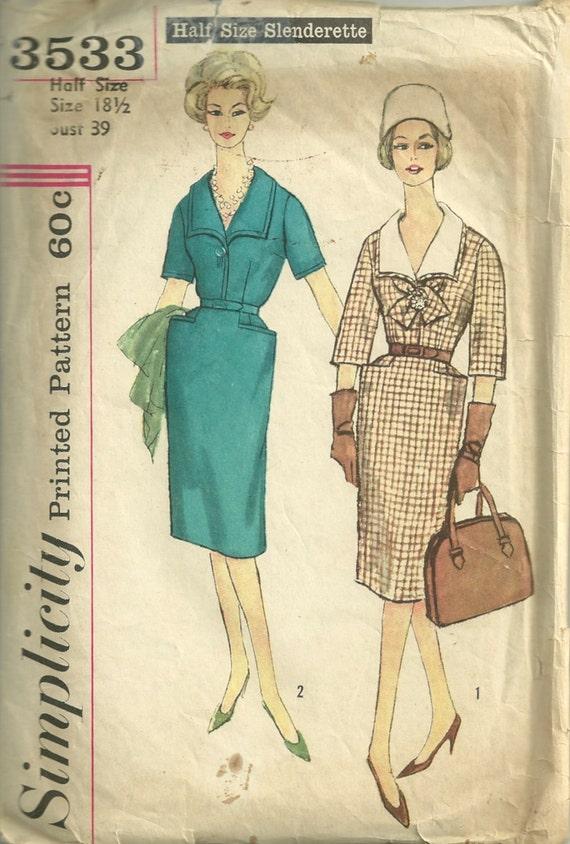 Simplicity 3533 1960s  Slenderette Dress Pattern Slim Skirt Yoke Pockets Womens Vintage Sewing Pattern Size 18 1/2 Bust 37