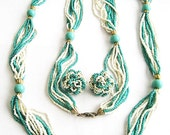 "Long Vintage Turquoise and White Seed Bead 45"" Necklace and Clip Earrings Set"