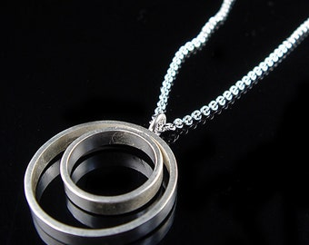 Geometric Jewelry Series - Double Circle Sterling Silver Necklace