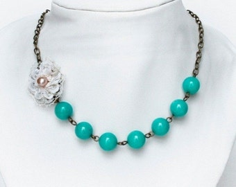 Turquoise gem and lace necklace
